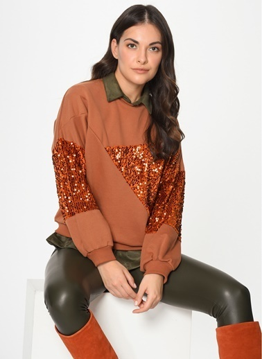 Loves You Payet Şardonlu Loose Fit Sweatshirt Camel